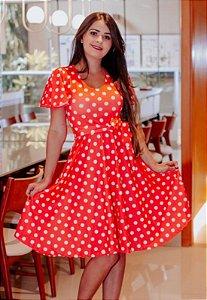 Vestido Midi Vermelho Poá Manga Sino