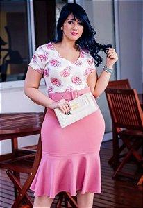 Vestido Peplum com Cinto Rosa Floral