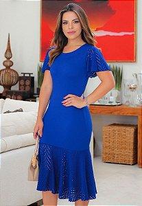 Vestido Tubinho Azul Detalhes em Arrastão