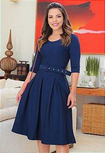 Vestido Midi Godê Crepe Malha Azul com Pregas