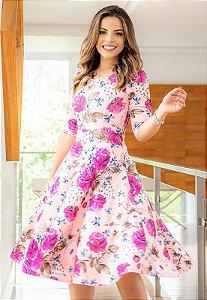 Vestido Midi Godê Estampa de Rosas Crepe Malha