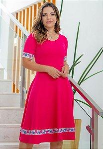 Vestido Midi Godê Rosa Pink Crepe Malha