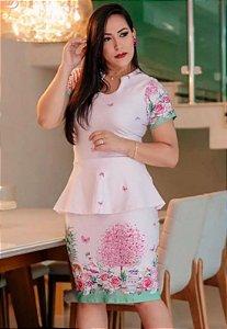 Vestido Peplum Suplex Rosa Estampado