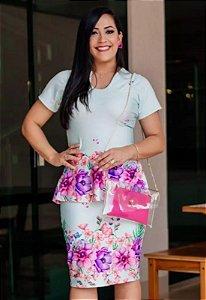 Vestido Peplum Suplex Estampa Floral