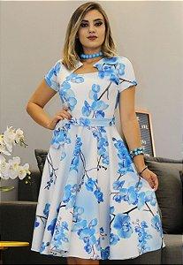 Vestido Midi Godê Floral com amarração