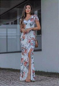 Vestido Longo Malha Suplex Floral