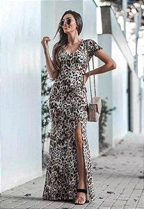 Vestido Longo Suplex Estampa Onça