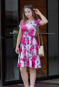 Vestido Midi Suplex Estampa de Rosas