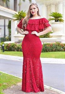 Vestido Longo Vermelho em Renda Forrado