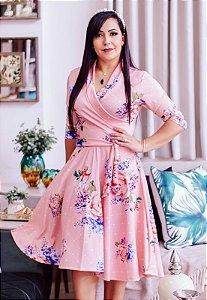 Vestido Midi Godê Floral Suplex Transpassado
