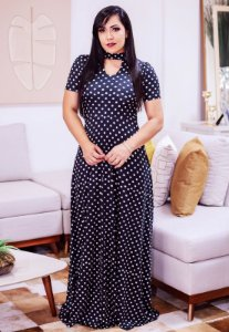 Vestido Longo Suplex Gola Choker