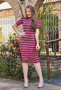 Vestido Tubinho de Lurex Rosa Canelado
