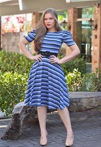 Vestido Midi de Lurex Azul Canelado