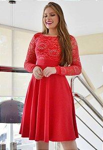 Vestido Midi Vermelho Manga Longa Renda