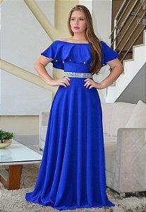 Vestido Longo Crepe Malha Azul Royal