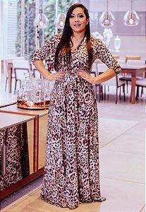 Vestido Longo Suplex Estampado de Onça
