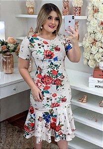 Vestido Peplum Floral com Duplo Babado