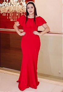 Vestido Longo Sereia Vermelho Crepe de Malha