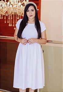 Vestido Midi Godê Branco Crepe de Malha