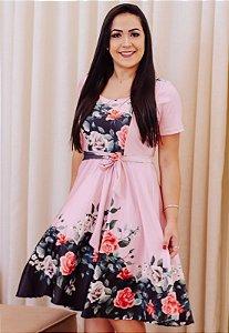 Vestido Midi Godê Rosé Estampado Crepe de Malha