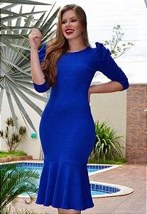 Vestido Peplum Azul Mangas Princesa 3/4