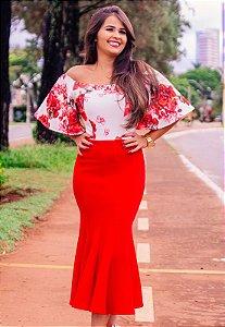 Vestido Peplum Vermelho Manga Sino