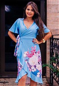 Vestido Azul Floral Transpassado de Suplex