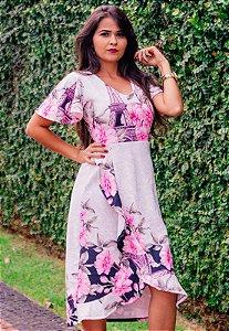 Vestido Floral Transpassado de Suplex