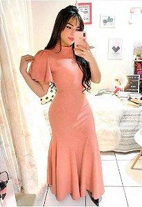 Vestido Longo em Jacar Rosé