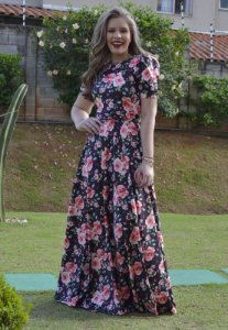 Vestido Longo Suplex Estampa Floral