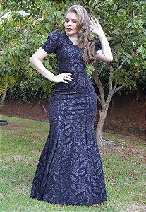 Vestido Longo Sereia Jacar Preto