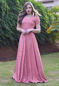 Vestido Longo Festa Jacar Rosa