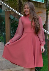 Vestido Midi Godê Rosé Manga em Tule