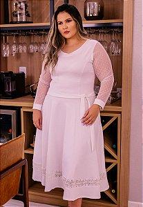Vestido Midi Branco Manga de Tule