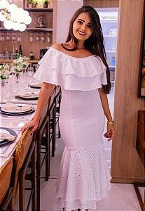 Vestido Branco Tubinho Peplum com Babado