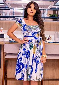 Vestido Midi Godê Estampado Azul
