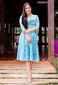 Vestido Midi Godê Azul Margaridas