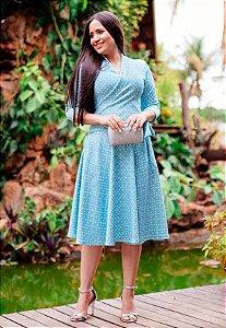 Vestido Midi Godê Suplex Azul Poá