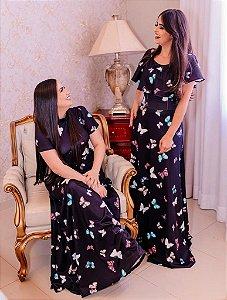 Vestido Longo Estampado em Suplex Soft Intermediário