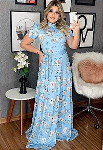Vestido Longo Azul Floral em Suplex Soft