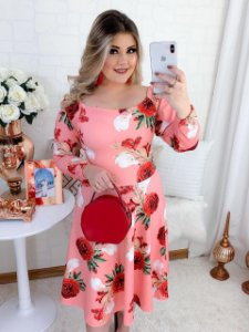 Vestido Midi Godê Rosas Manga Longa Suplex