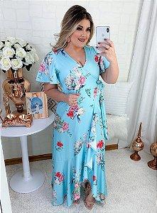 Vestido Longo Azul Gola V Aberta em Suplex Soft