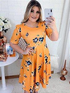 Vestido Midi Godê Amarelo Floral em Crepe de Malha