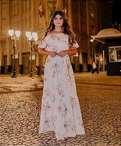 Vestido Longo Floral com Babado em Suplex Soft