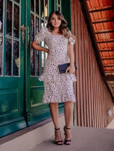 Vestido Midi Estampado com Babado Duplo em Suplex Soft
