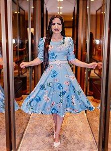 Vestido Midi Godê Azul Floral em Crepe de Malha com Cinto
