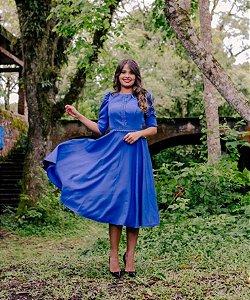 Vestido Midi Godê Azul Tecido Alfaiataria