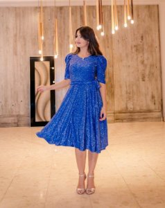 Vestido Midi Godê Duplo Azul em Lurex