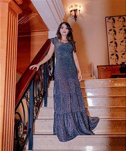 Vestido Longo Preto Brilhante em Lurex