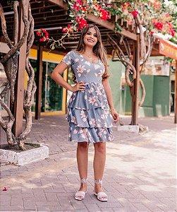 Vestido Midi Peplum Estampado Floral em Suplex Soft